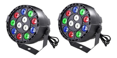 kit 2 mini refletor 12 leds digital strobo dmx efeito rgbw