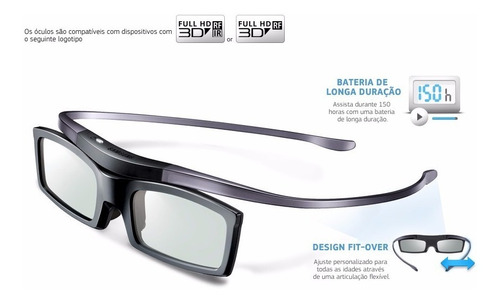 kit 2 óculos 3d ssg-5100gb ativo para tv samsung - original!