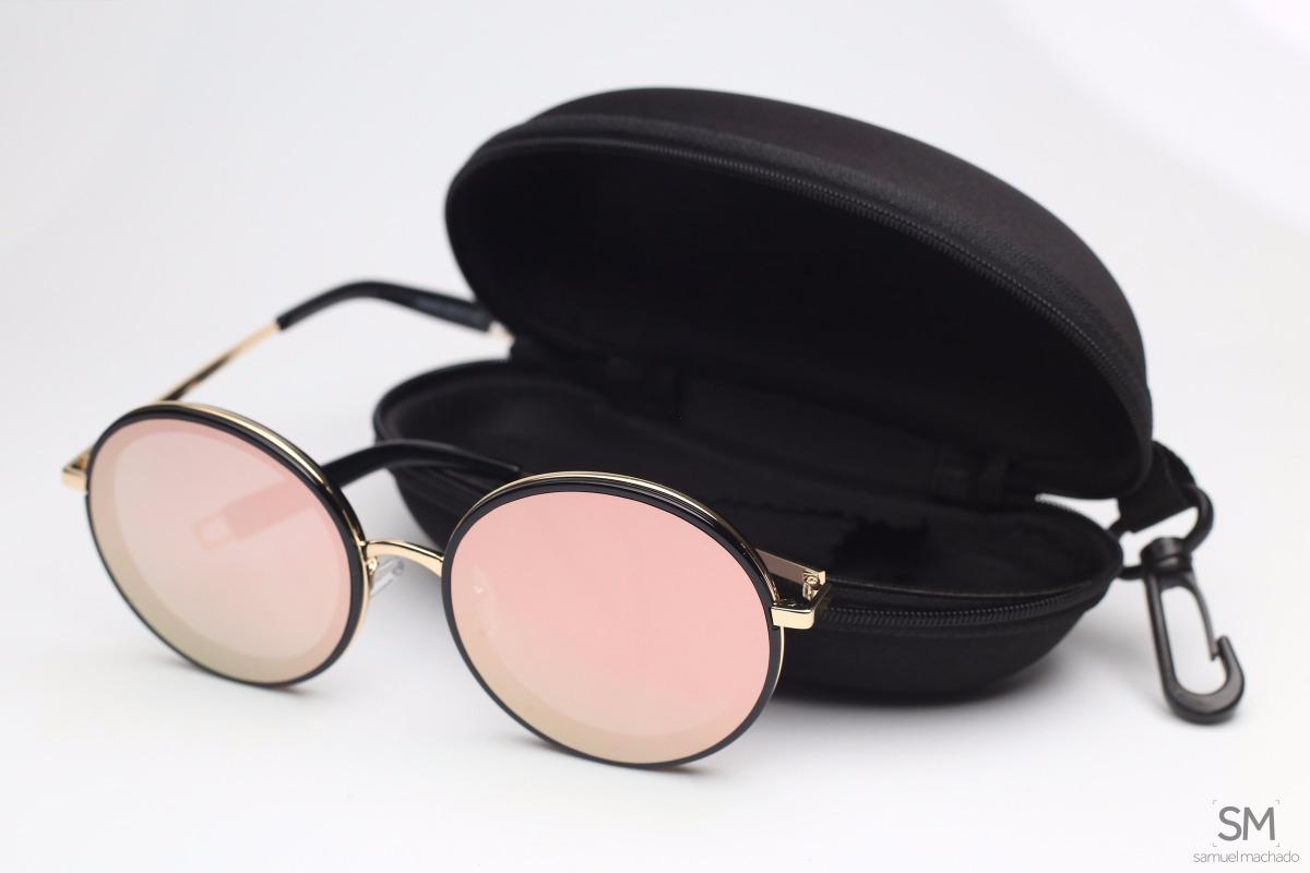 883a4a89a kit 2 óculos de sol feminino gatinho + redondo rosa original. Carregando  zoom.