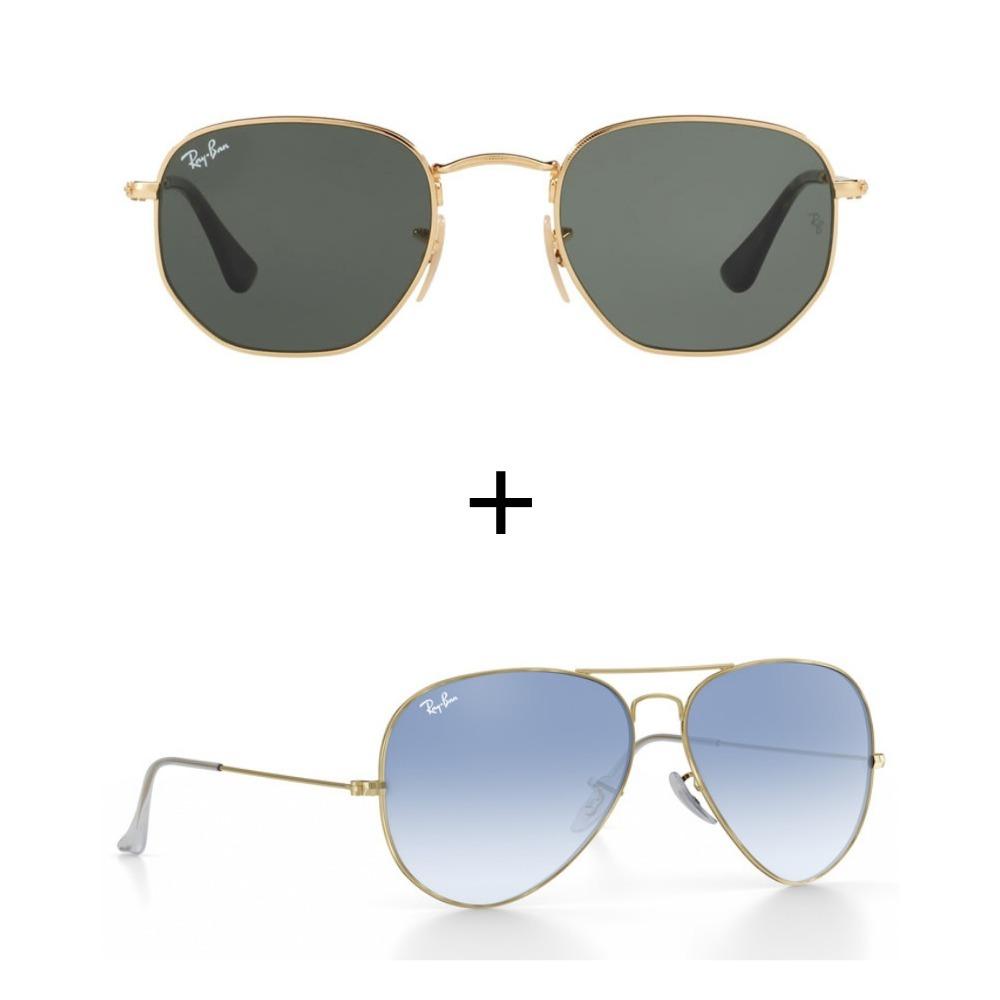 kit 2 oculos de sol ray-ban feminino masculino promoçao. Carregando zoom. 87e206d382