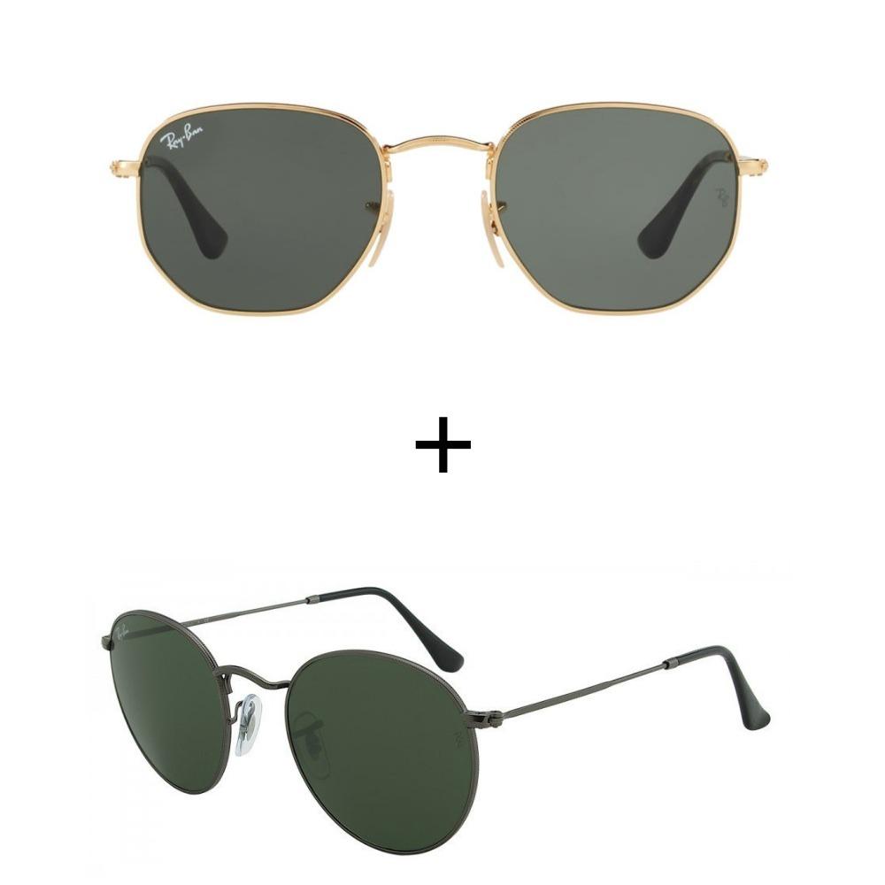 417c0940b4033 kit 2 oculos de sol ray-ban feminino masculino verao. Carregando zoom.