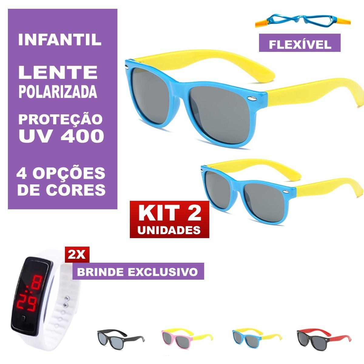 Kit 2 Óculos Infantis Flexíveis Uv400 + 2 Brindes - R  110,00 em ... 472f99c942