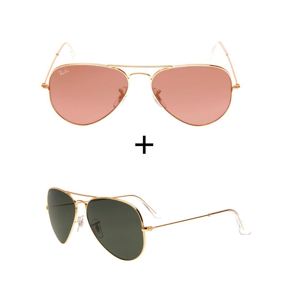 2152821726749 kit 2 oculos rayban aviador rb3026 rosa+preto com dourado. Carregando zoom.