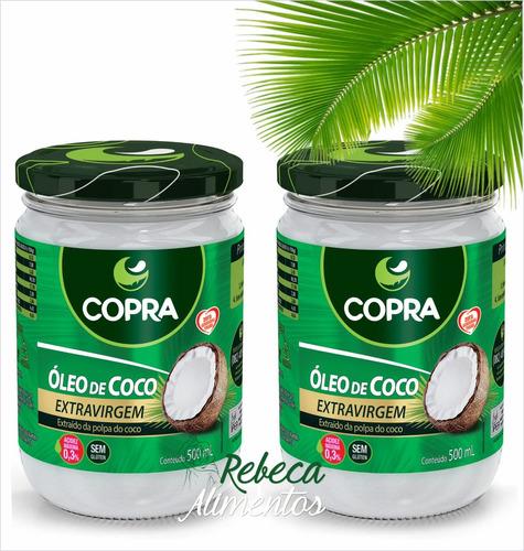 kit 2 - óleo de coco extravirgem 500ml copra 1litro + brinde