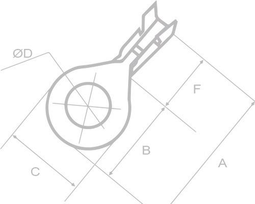 kit 2 pacotes c/ 50 terminal anel olhal cobre 3,5mm