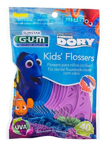 kit 2 pacotes fio dental gum com cabo dory kids' flossers
