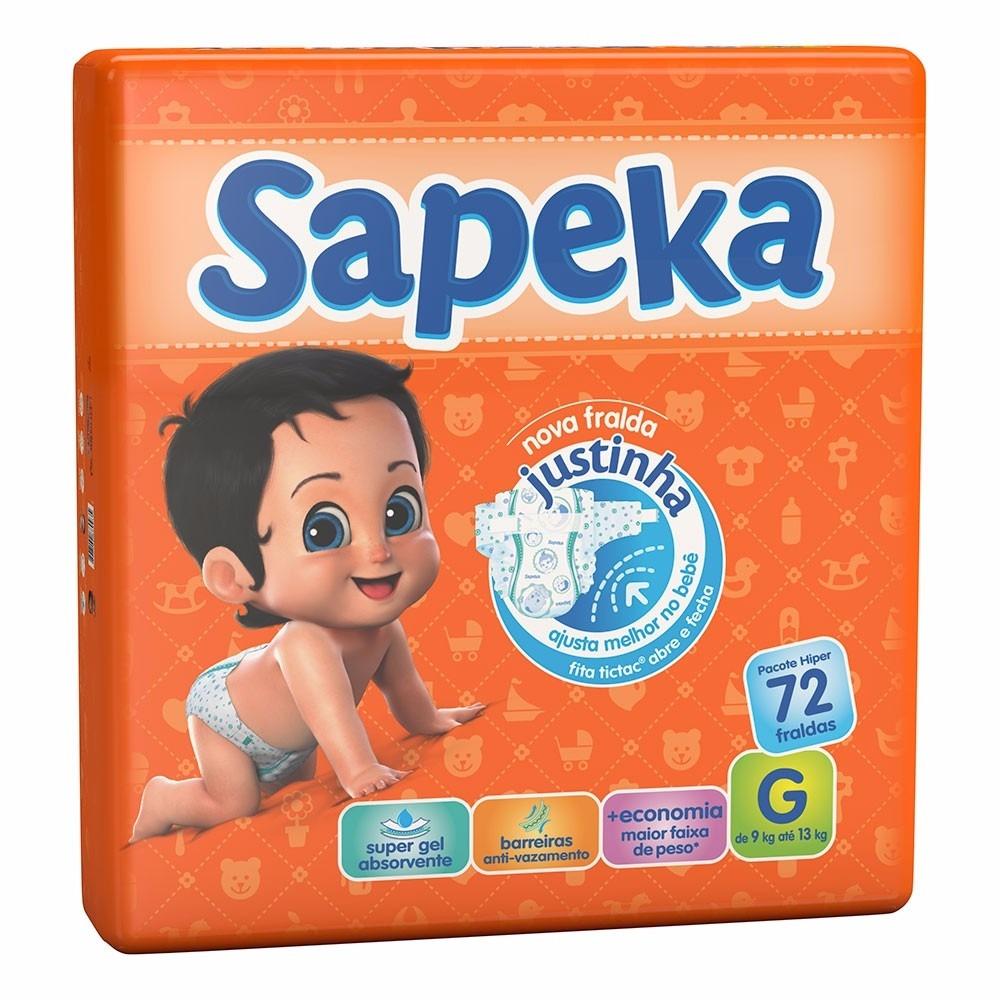 d882749df Kit 2 Pacotes Fralda Sapeka Hiper C 72 - Tam.g Total 144 Un - R  79 ...