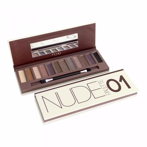 kit 2 paletas 24 sombras maquiagem nake pincel nude vivai