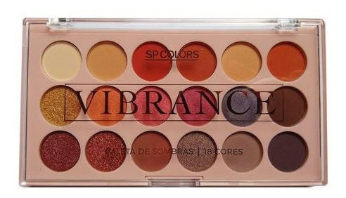 kit 2 paletas sombras vibrance sp colors 18 cores 2 versoes.