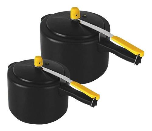 kit 2 panelas pressão 7,0l e 4,5l turbo antiaderente preta