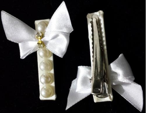 kit 2 pares bico de pato com laço, pérolas e strass - acrin