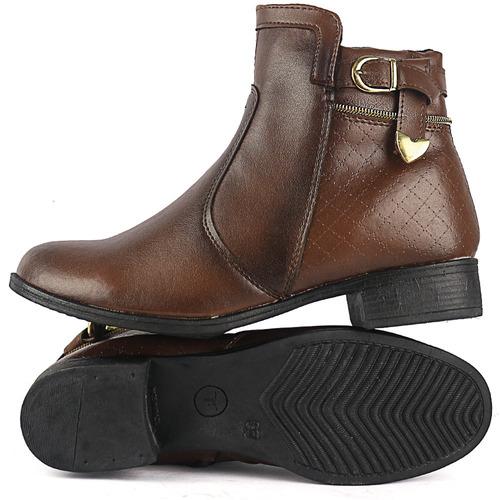 kit 2 pares bota feminina coturno cano baixo ziper lateral