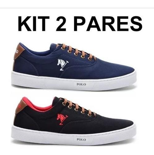 kit 2 pares sapatênis  polo joy tamanhos 35 ao 48