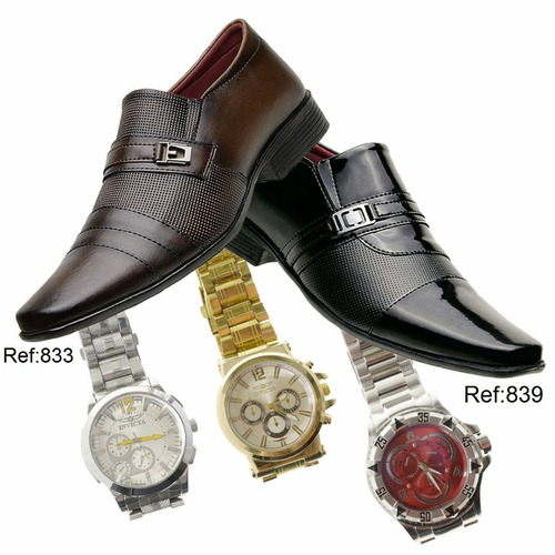 kit 2 pares sapato social masculino + brinde 1 relogio a4