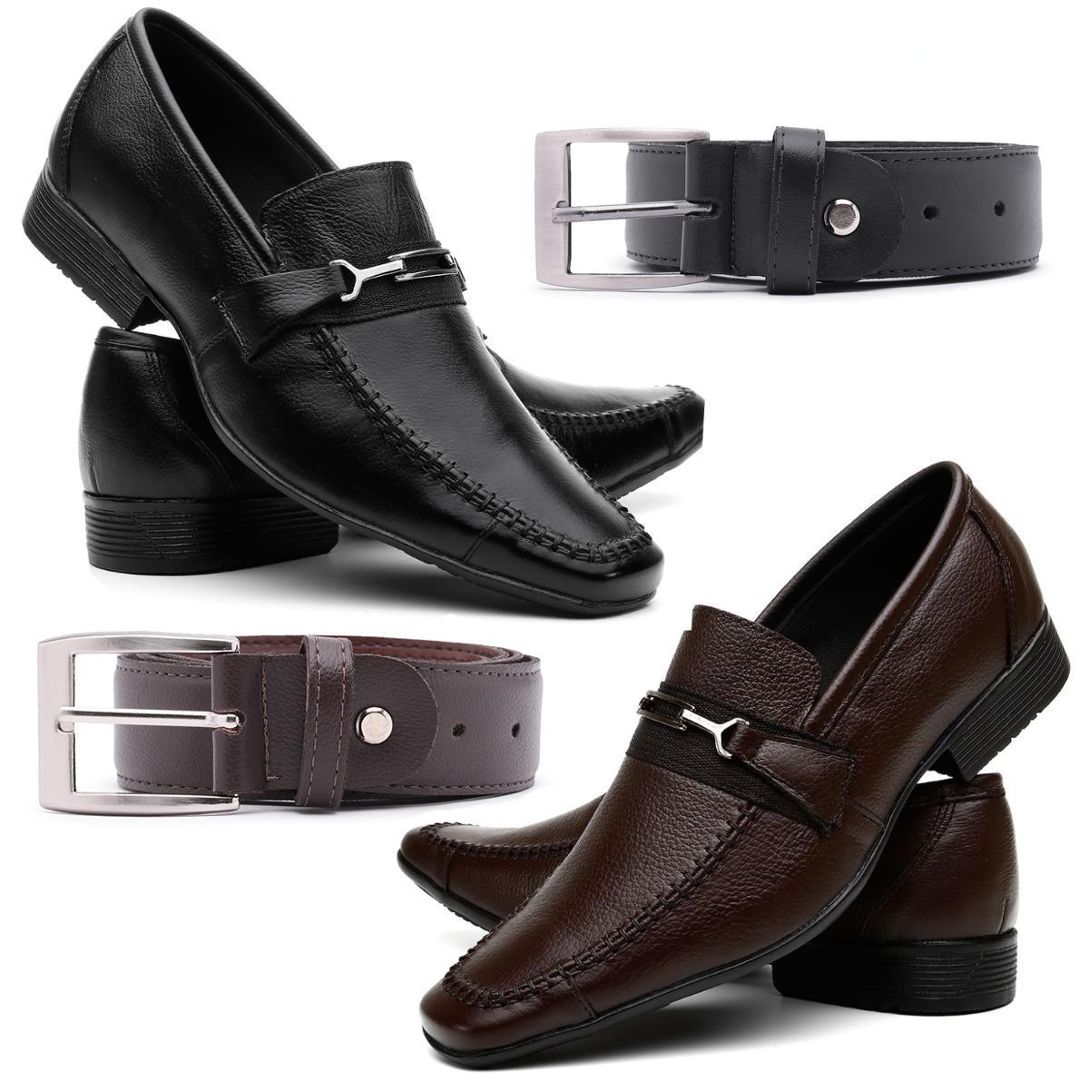 5dd53c6ae kit 2 pares sapato social masculino conforto couro legitimo. Carregando  zoom.