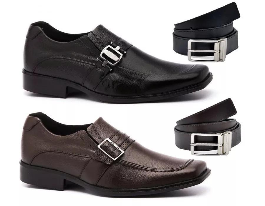 755a6b7a0 kit 2 pares sapato social masculino couro legitimo + cinto. Carregando zoom.