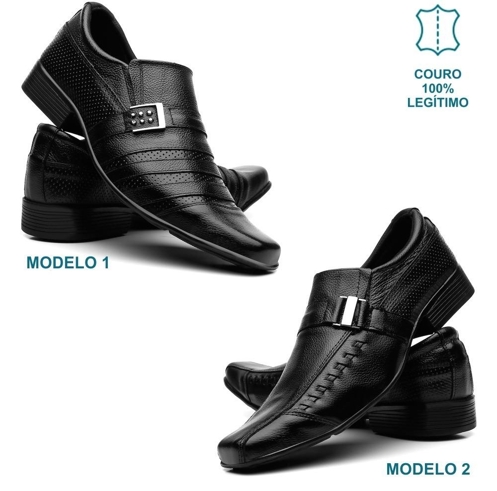 daaefd6fc Kit 2 Pares Sapato Social Masculino Em Couro - R$ 119,45 em Mercado ...