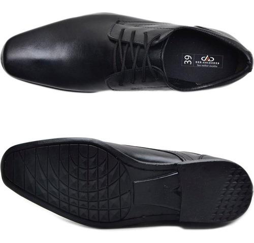 kit 2 pares sapato social masculino em couro cadarço + cinto