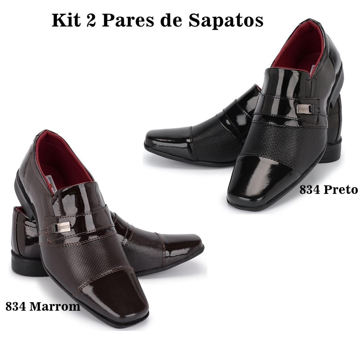 abda7ff44 Kit 2 Pares Sapato Social Verniz Preto + Marrom Schiareli - R$ 119 ...