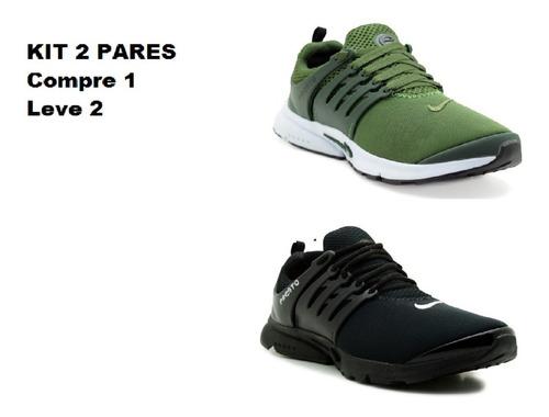 kit 2 pares tênis epic air presto flyknit frete grátis