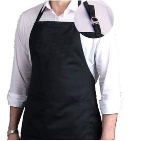 Kit 2 Peças Avental Liso Oxford Bolso Regulador Preto Chef