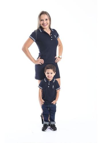 kit 2 peças camisa e vestido tal mãe tal filho azul marinho