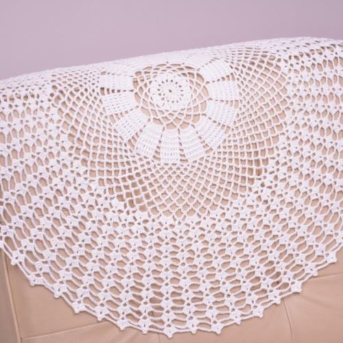 kit 2 peças centro de mesa crochê 65cm algodão branco