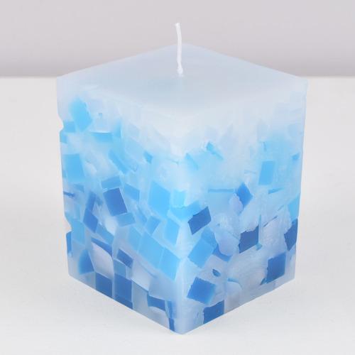 kit 2 peças velas mosaico azul degradê 7,5x7,5x9,5cm