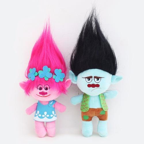 kit 2 pelúcias poppy e tronco 23 cm- trolls - pronta entrega