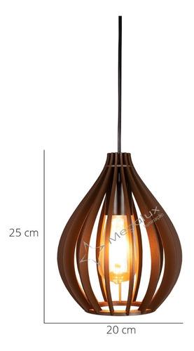 kit 2 pendente balão madeira bancada cozinha rústico 20cm