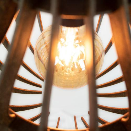 kit 2 pendente balão madeira rustico retrô vintage 30cm