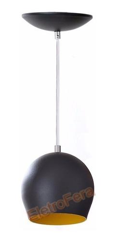 kit 2 pendente bola de alumínio colorido preto interior amar