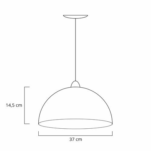 kit 2 pendente meia bola lua cobre cozinha sala 37cm