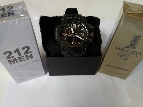 kit 2 perfume luxo+relógio masculino g-shóck vários modelos