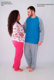 48d82cf43d52a5 Kit 2 Pijama Casal Masculino Feminino Algodão Conforto Total