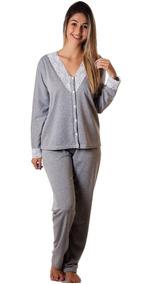 e7af64b74b4d3d Kit 2 Pijamas Feminino Longo Moletinho Renda Botão Promoção