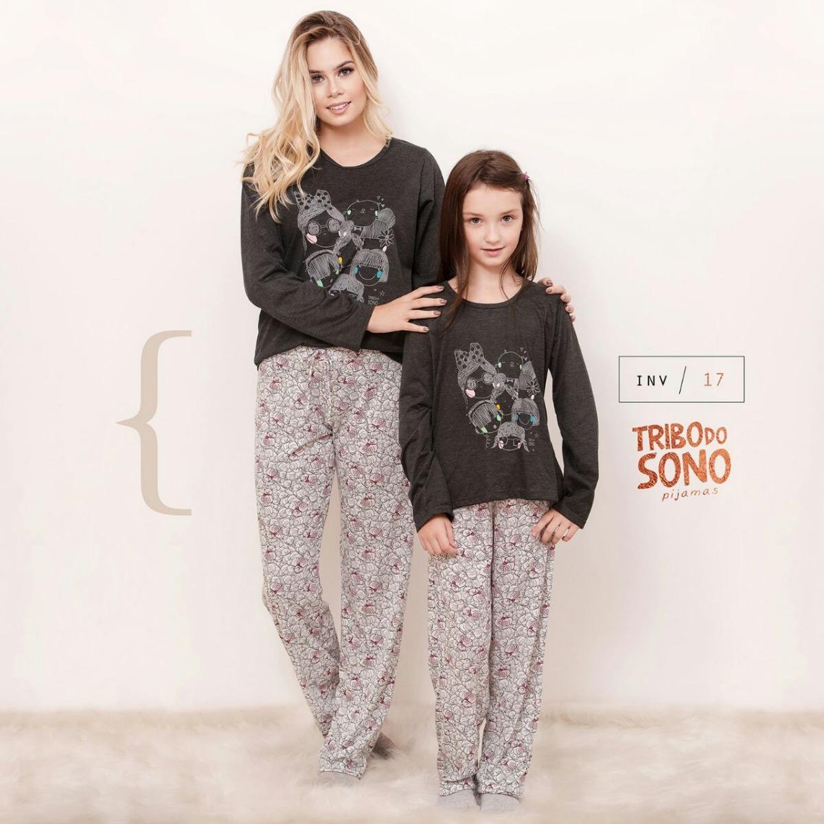 fcc919b00fff85 Kit 2 Pijamas Mãe Filha Inverno Blusa Estampada Menina