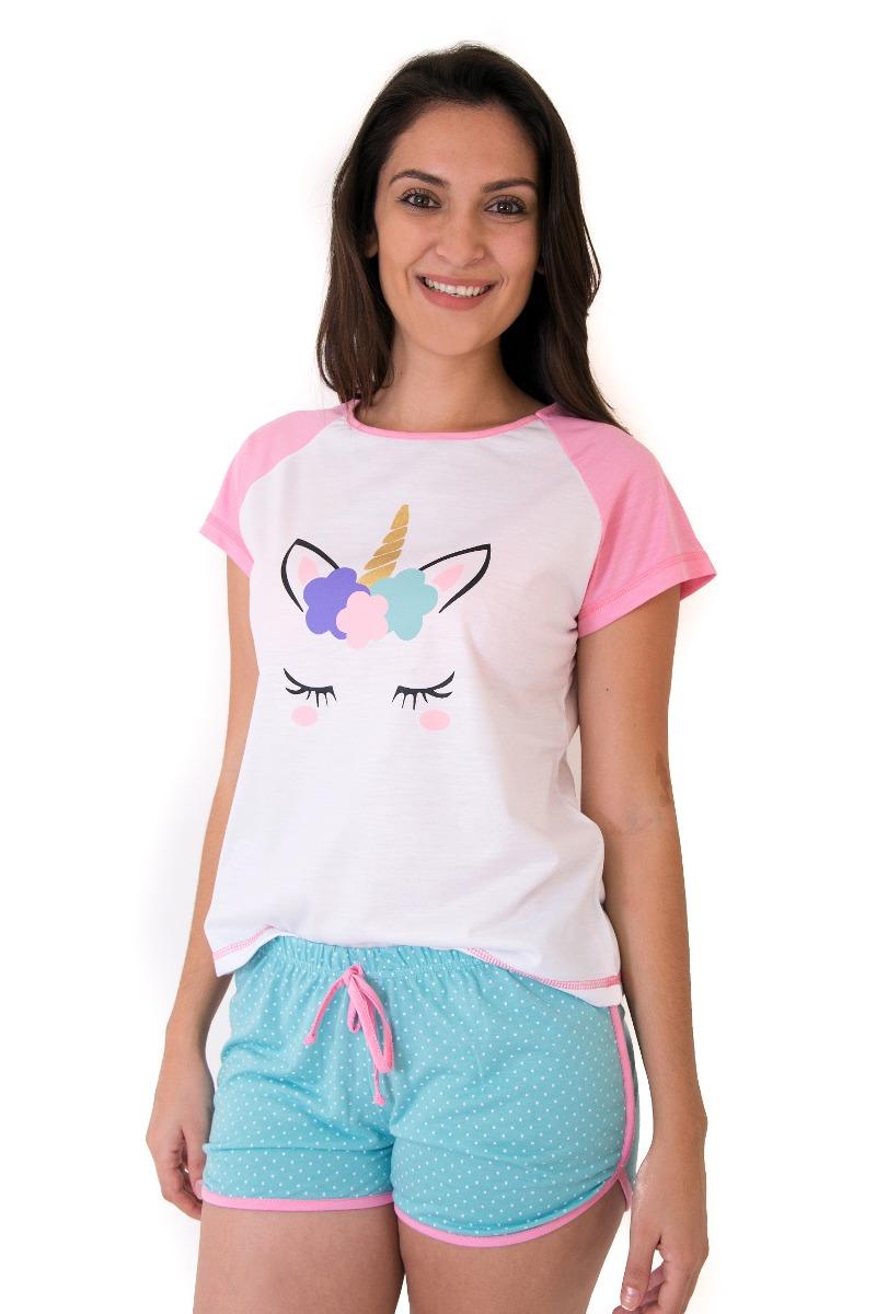 d367c999b kit 2 pijamas unicornio adulto short doll frete gratis. Carregando zoom.