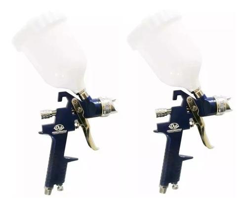 kit 2 pistola de pintura hvlp profissional gravidade