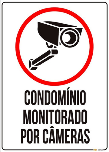 kit 2 placas condomínio monitorado por câmeras 18x25cm