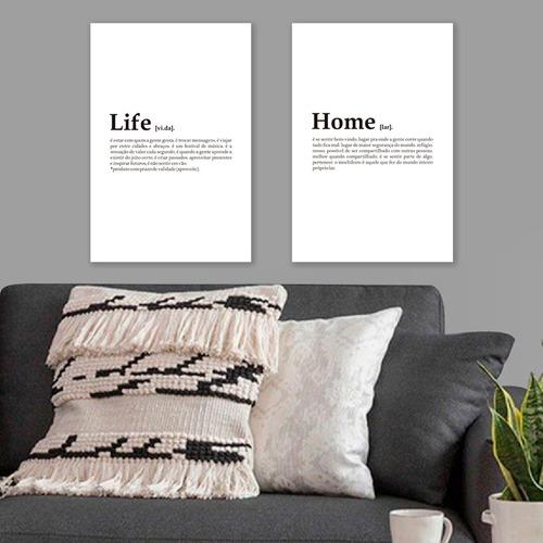 kit 2 placas decorativas mdf quadros home life 2 uni 20x30cm