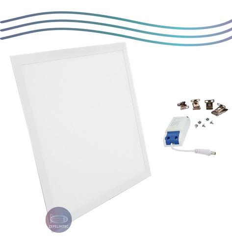 kit 2 plafon painel led 50w 60x60 embutir quadrado luz frio