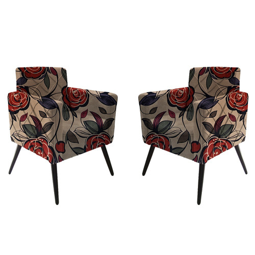 kit 2 poltrona emanuely decorativa quarto floral + brinde