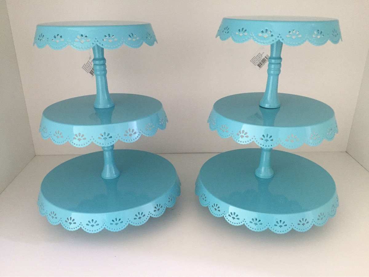Kit 2 Porta Doces Cupcakes Bolo 3 Andares Azul Promocao R 250 00