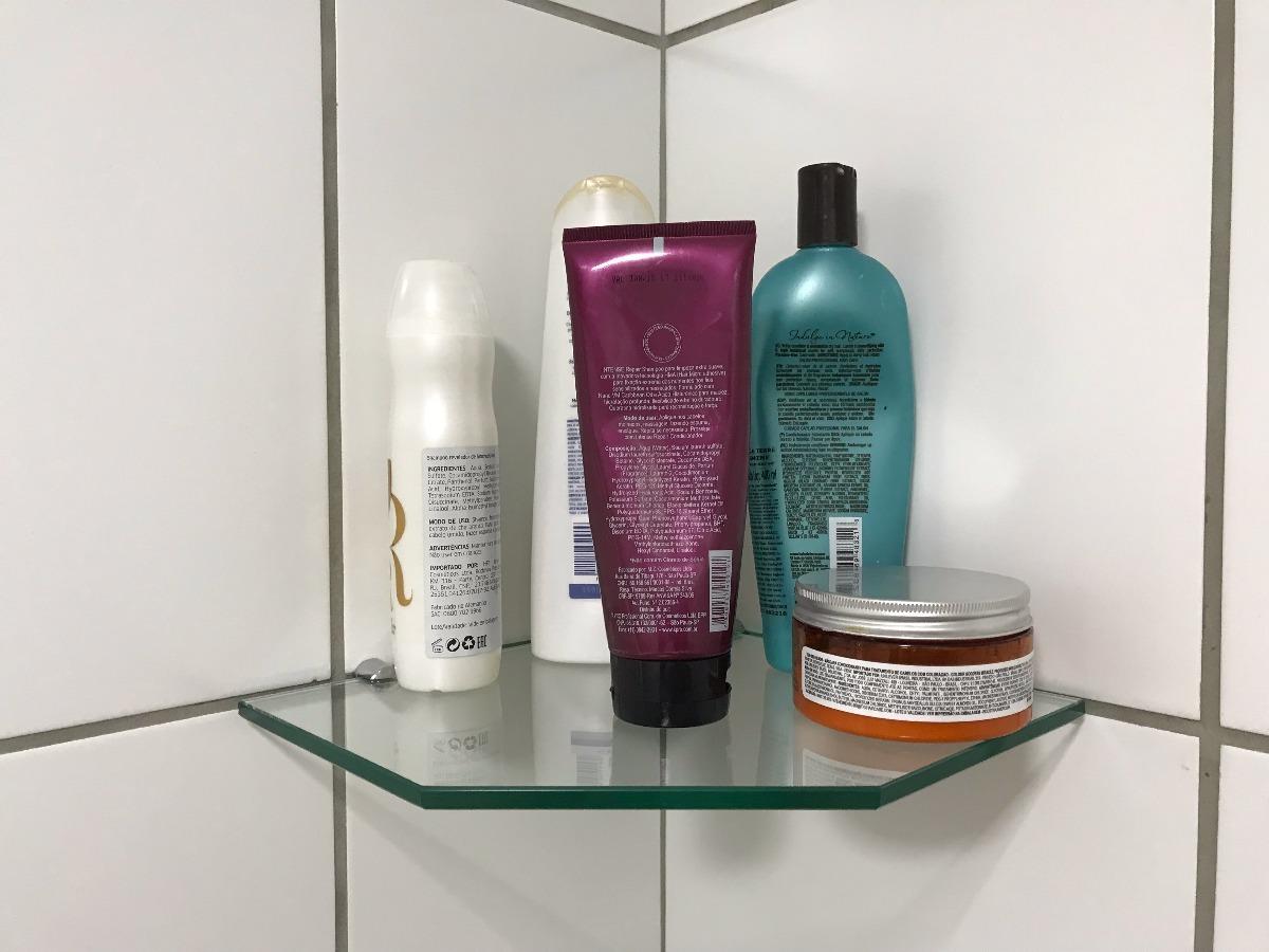 Kit 2 Porta Shampoo Prateleira De Canto Vidro Incolor 8mm R 75 00 Em Mercado Livre