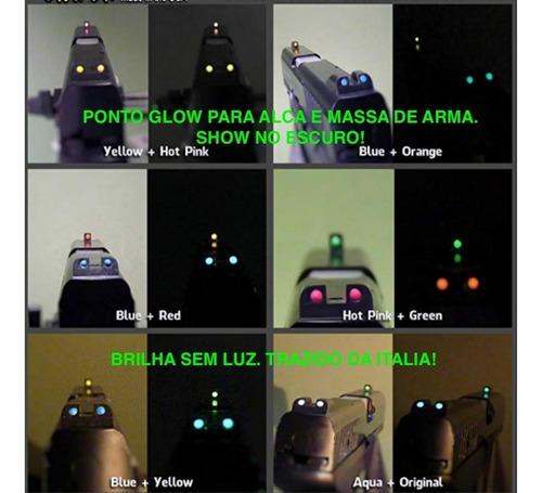 kit 2 potes 25ml ponto glow para alça e maça de mira telescopica airsoft paintball red dot tiro alvo esportivo noturno