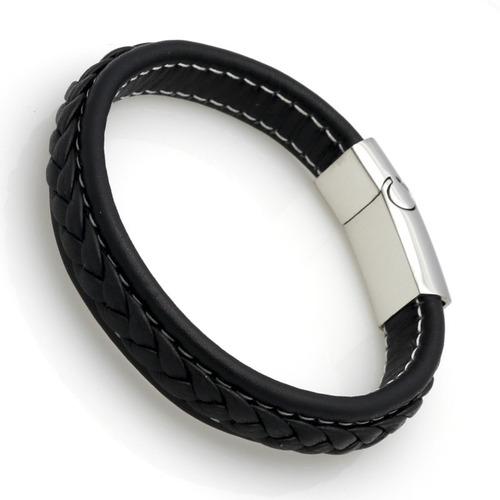 kit 2 pulseira bracelete masculi couro legít aço inox 21,5cm