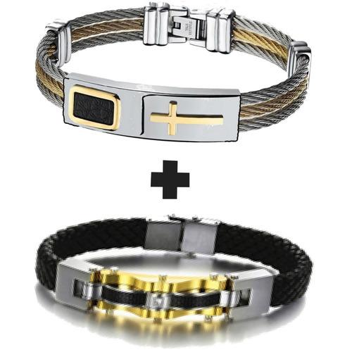 kit 2 pulseira masculina banhada ouro 18k cruz aço inox