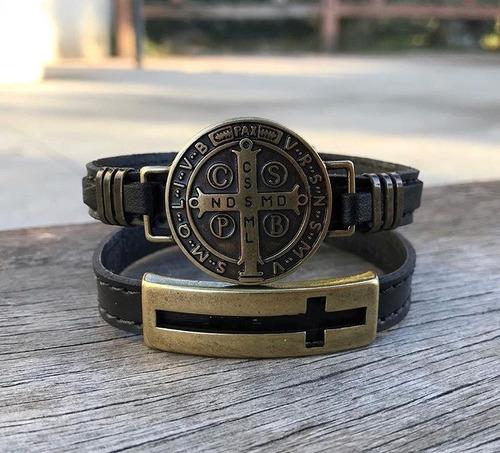 kit 2 pulseiras couro com bridão são bento e cruz crucifixo