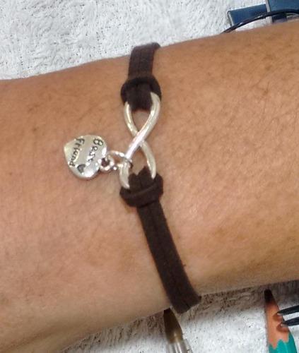 kit 2 pulseiras infinito namorados best friends frete grátis